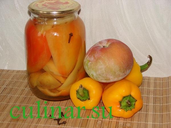 Как готовить маринованный перец с яблоками