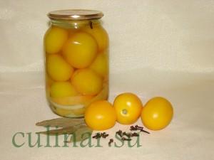 Маринованные кисло-сладкие желтые помидоры