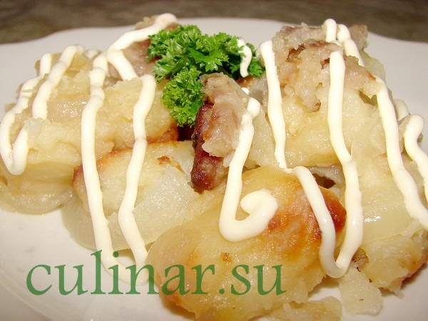 Картофель жареный с подчеревком