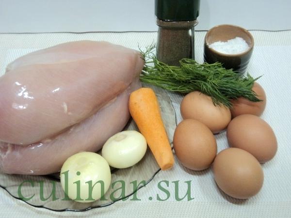Куриный суп с лапшой из омлетных блинчиков!